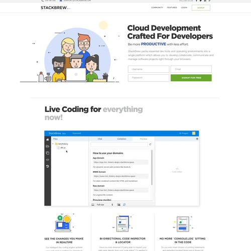 Clean Website Design for  Coud Development Platform