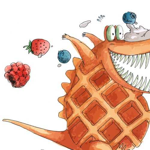 "Create a lovable illustration of a ""Crocodile Waffle"" for a hilarious new children's book"