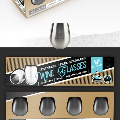 Design vintage modern packaging for stainless steel stemless wine glasses