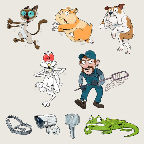 Illustrations for a table top game where animals escape a pet control facility