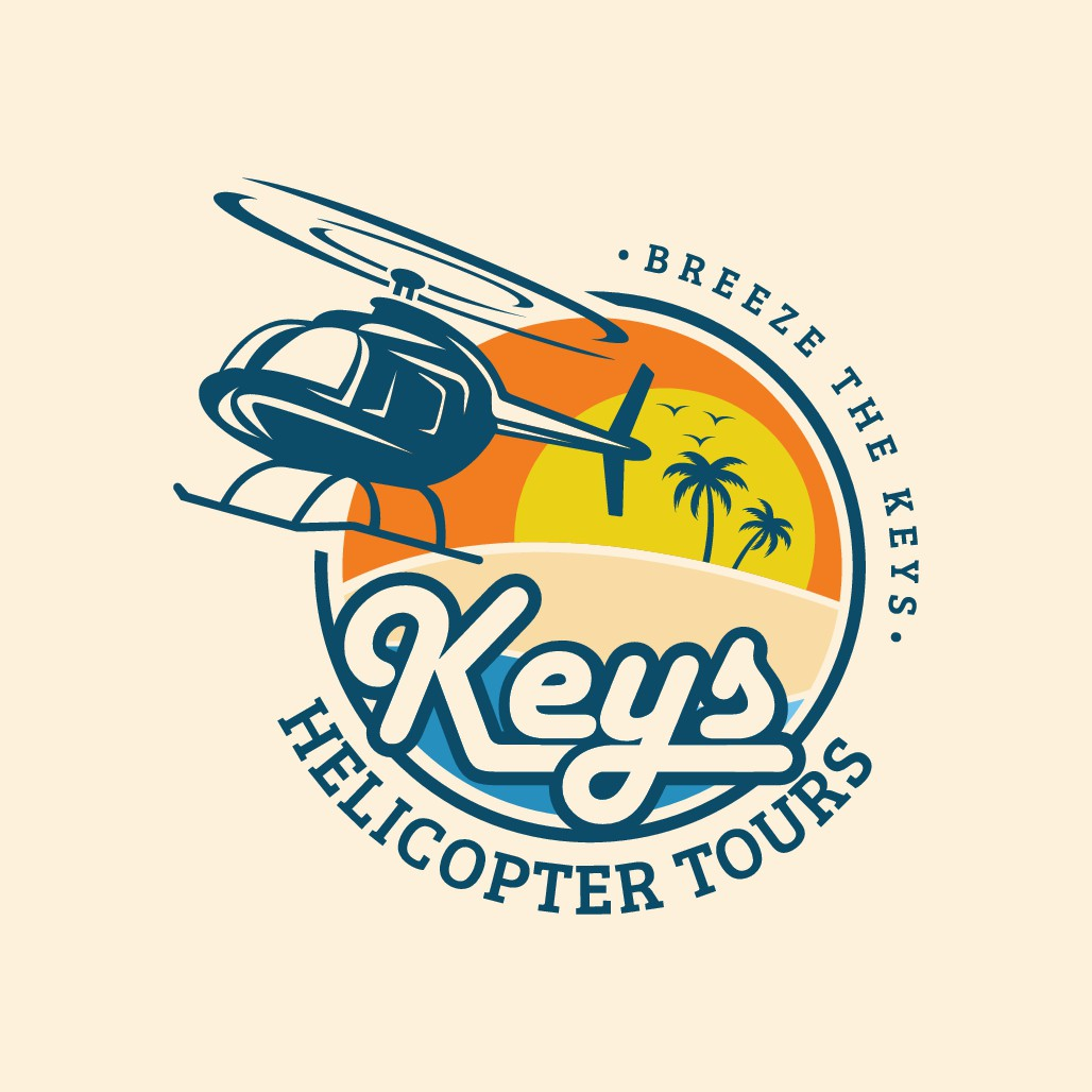 Retro/islandy helicopter tour logo to appeal to tourists!