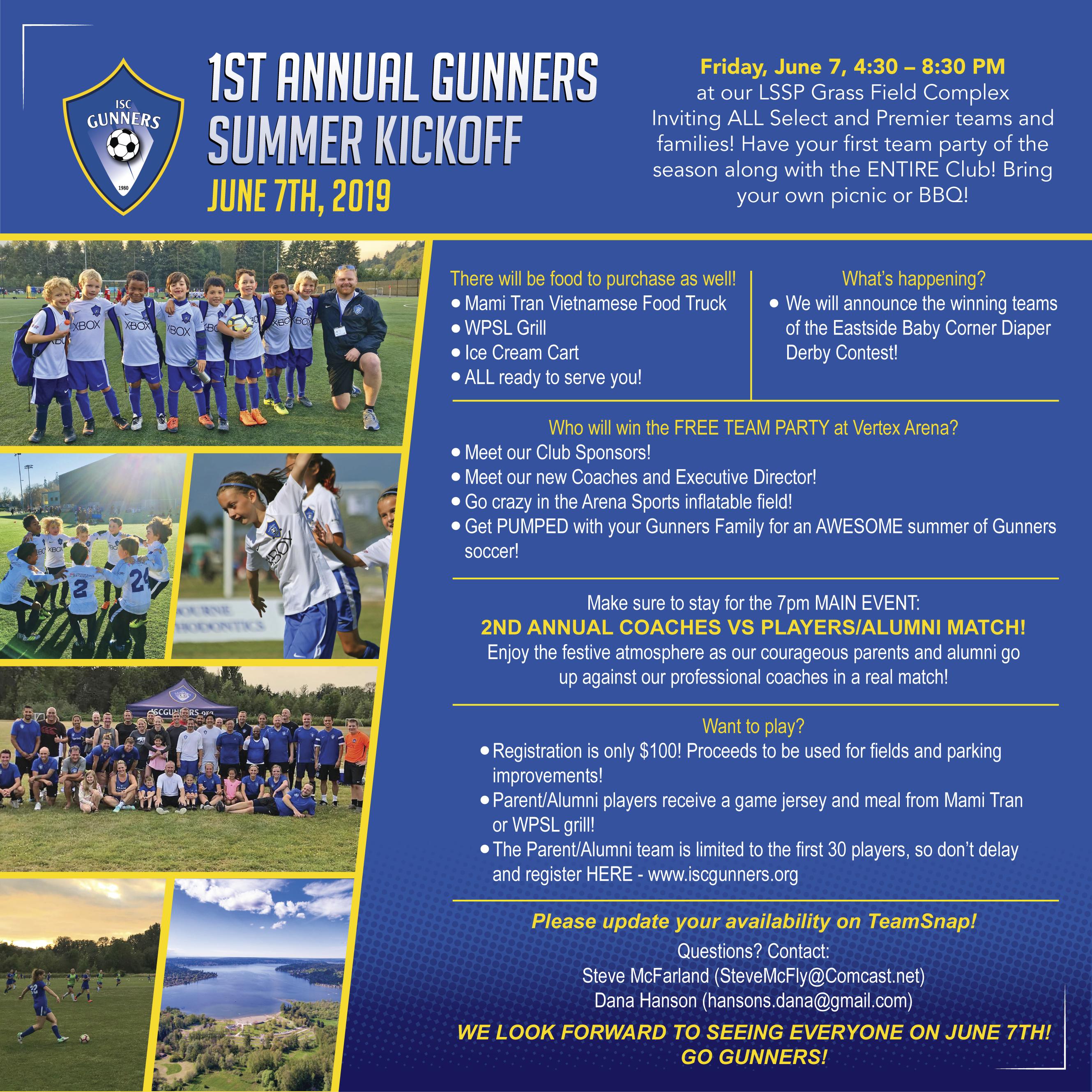 1st Annual Gunners Summer Kickoff - June 7th, 2019