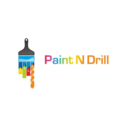 Create a Painting & Carpentry building company logo for 'Paint N Drill'