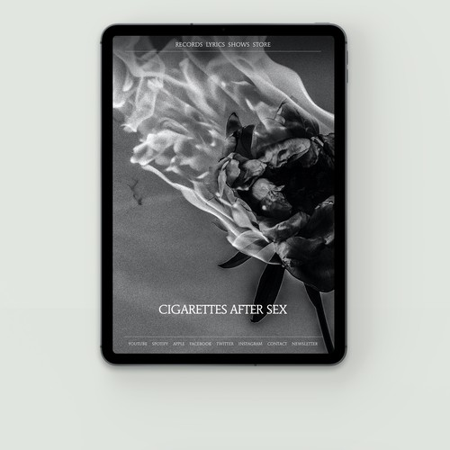 A website for Cigarettes After Sex. Los Angeles, California