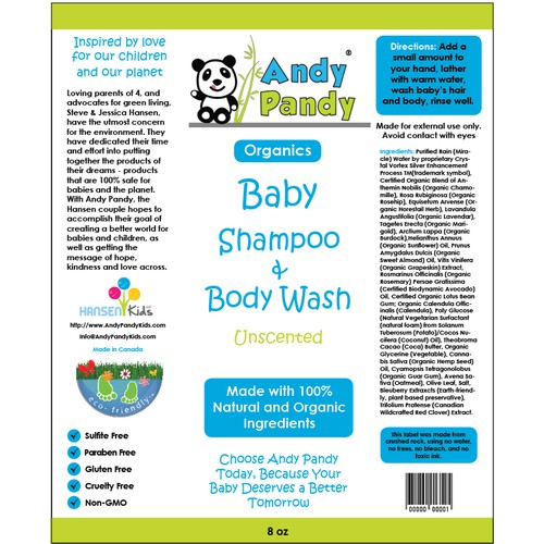Label concept for a brand of baby wash