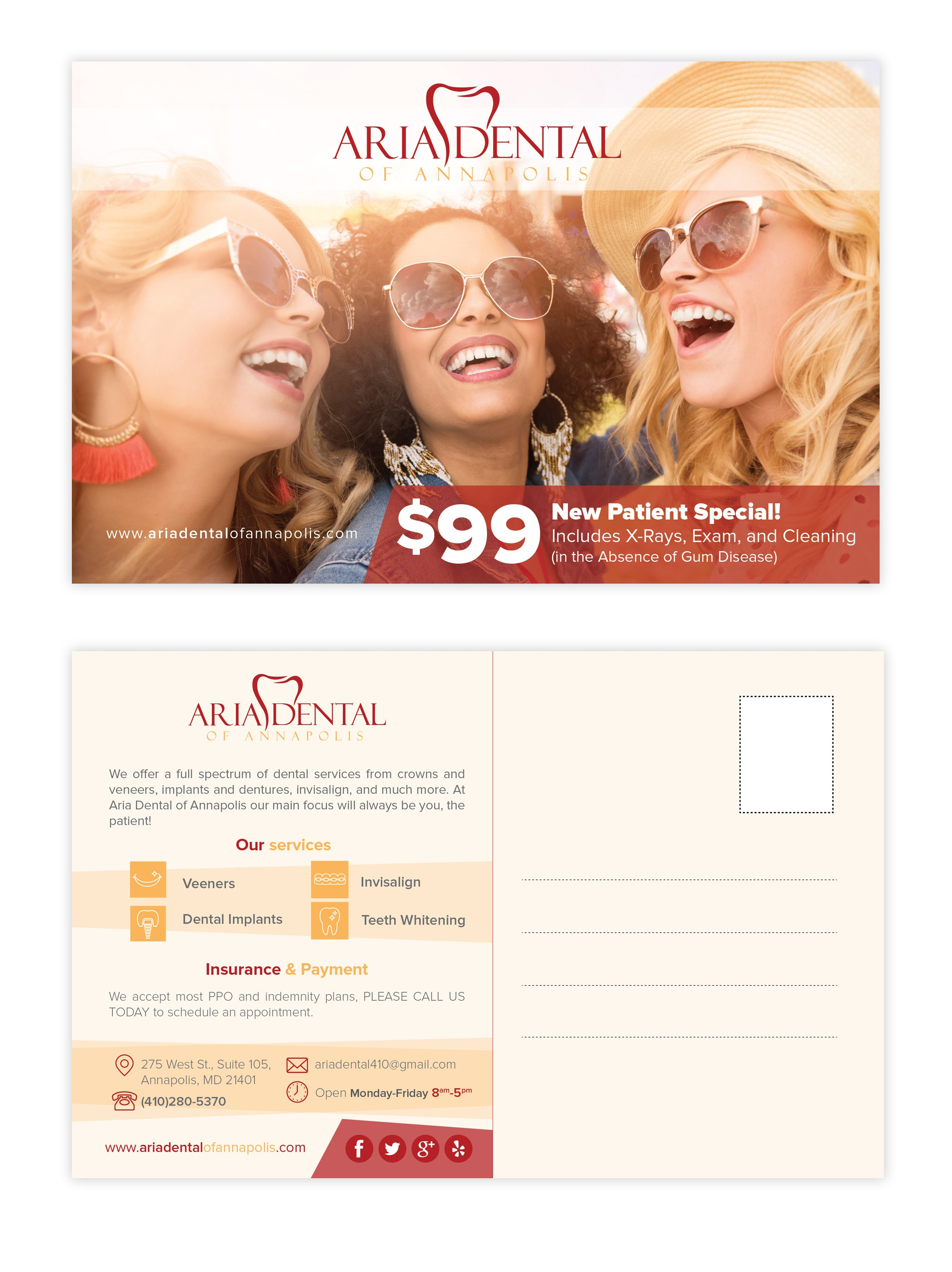 Create a attractive and intriguing postcard that pulls you in for Aria Dental of Annapolis