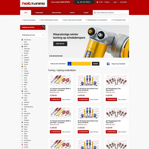 Design for webshop in automotive parts