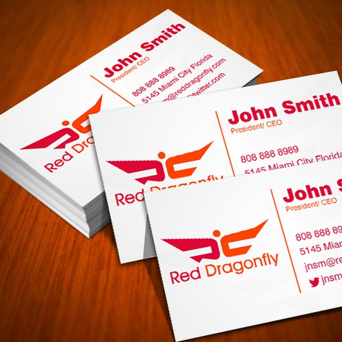 Red Dragonfly  needs a new logo and business card