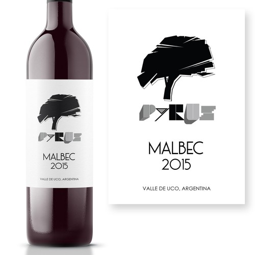 Bauhaus style hand drawn wine label