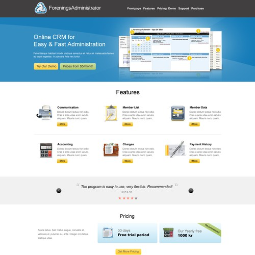 Create a new webdesign that can sell our CRM system