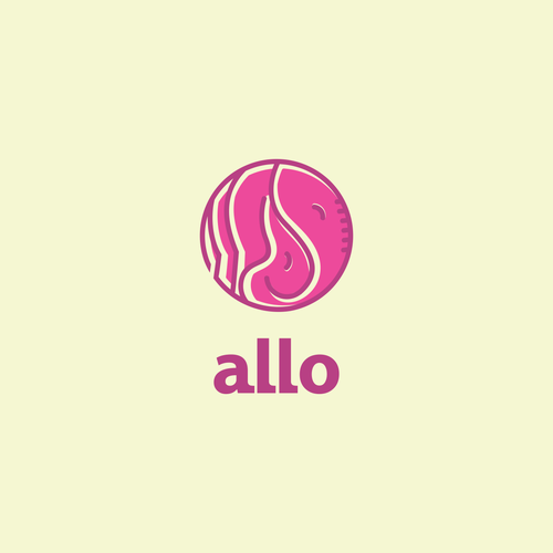 """Allo"" = Cute Elephant LOVE and SNUGGLES Logo"