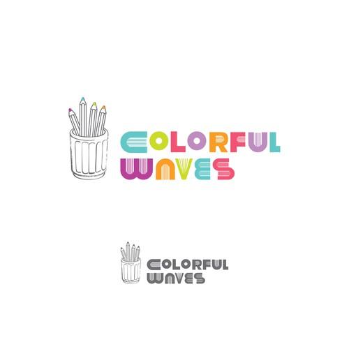 Colorful waves logo design