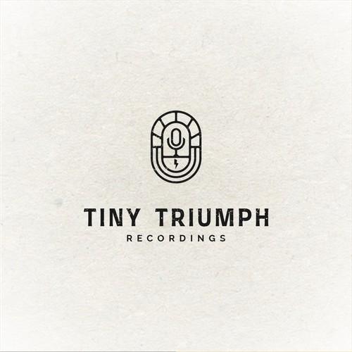 microphone podcast emblem vintage yet modern logo design