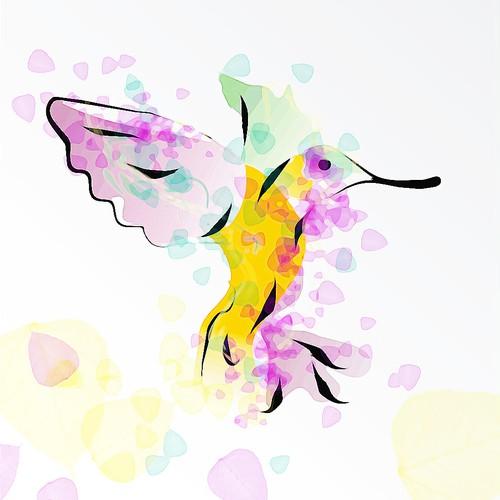 Tropical bird illustration for fashion t-shirt