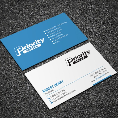 Business card design for Priority Rental