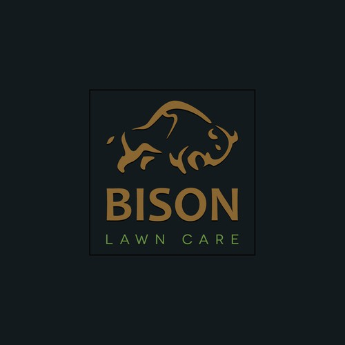 Create a new lawn care company logo using the American Bison in the logo