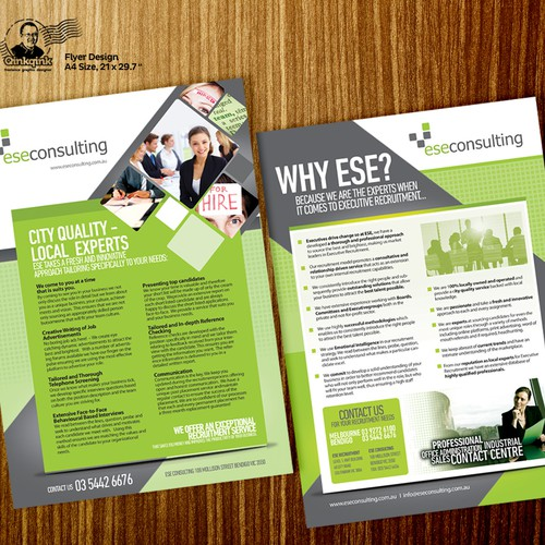 Design a modern, funky, dynamic, professional brochure for a successful boutique recruitment agency