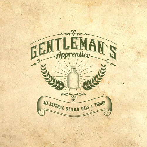 Logo for a beard oil company with vintage , hipster feel.