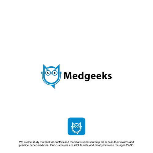 modern, fun, and witty logo for Medgeeks, a medical/education company.