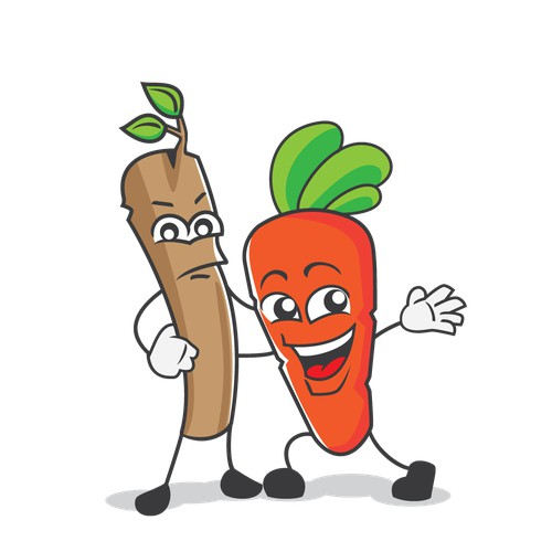 Cute illustration of carrot and stick for kid learning