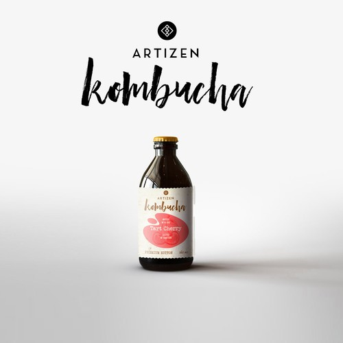 Kambucha Drink Bottle Label Design for Artizen