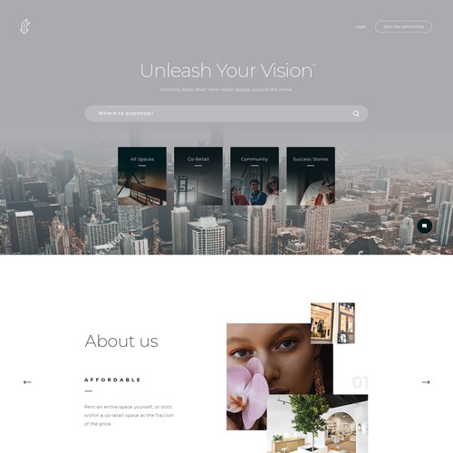 Main Page Concept for Popshop website.