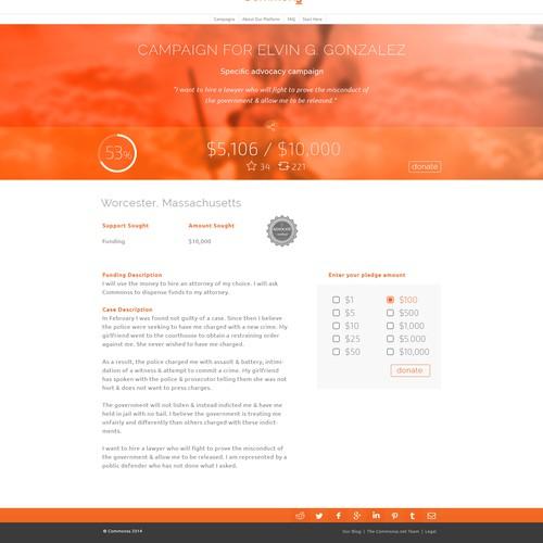 Elegant crowdfunding profile for nonprofit