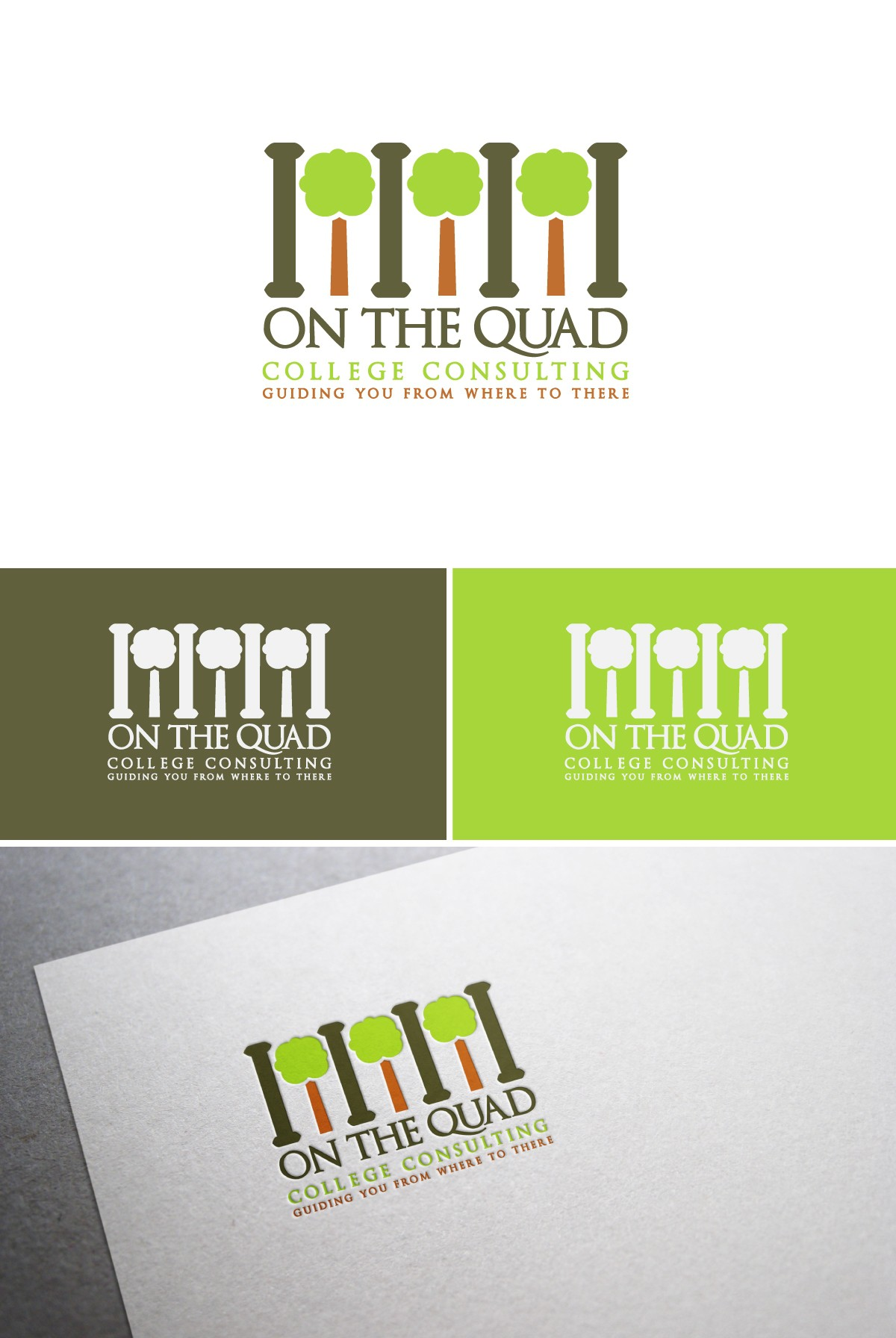 Create a mod but still classic logo college consulting business - On the Quad - trees and columns