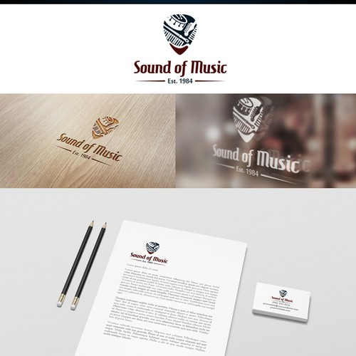 Create a classic clean logo for a music store