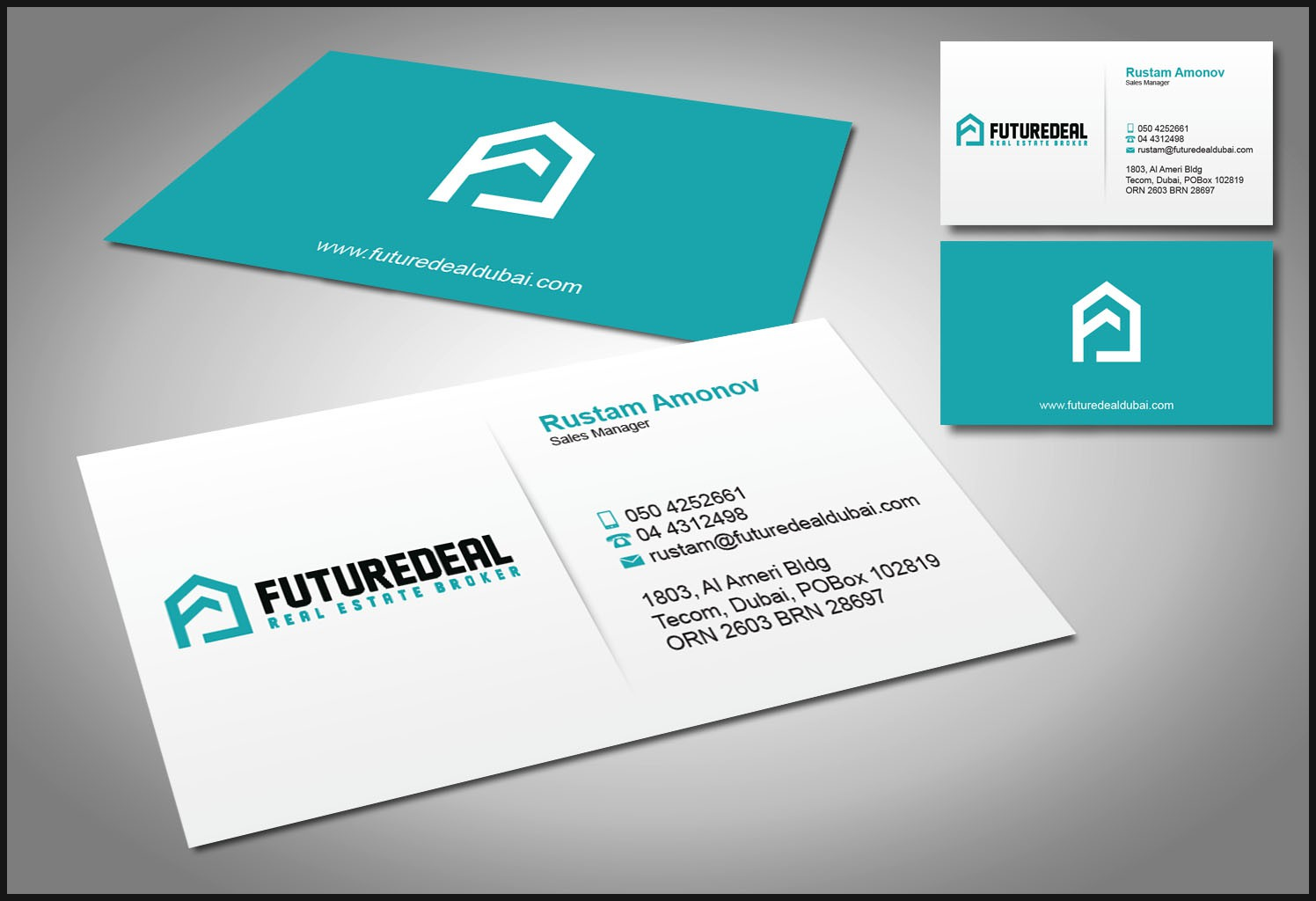 Real Estate Business card design with existing logo.