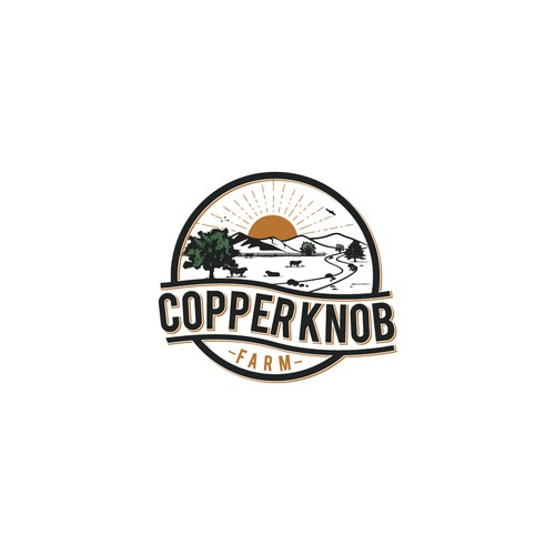 Need timeless logo for Copper Knob Farm in Appalachian mountains of TN