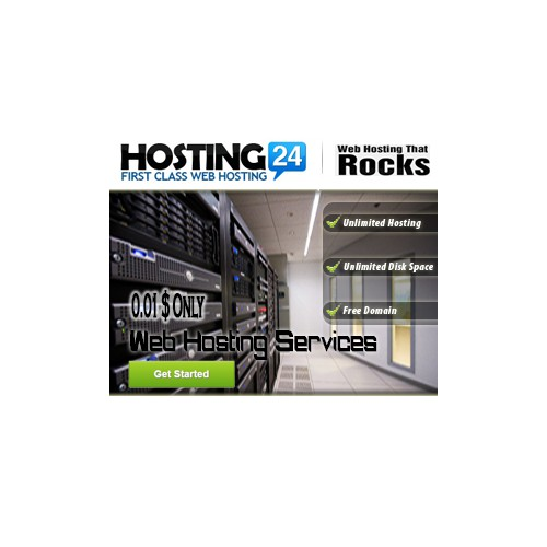 Web hosting banner for re-marketing (winner gets permanent private job offers)