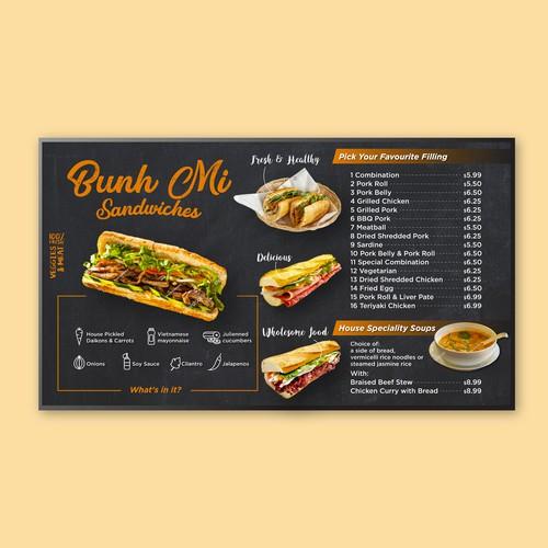 Restaurant menu for a digital screen