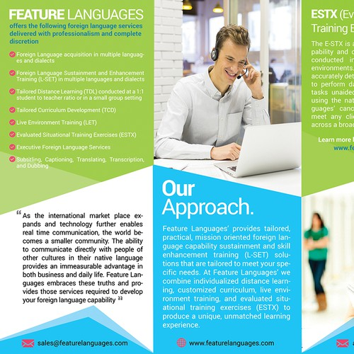 Create a marketing brochure for Adult Learning Language School