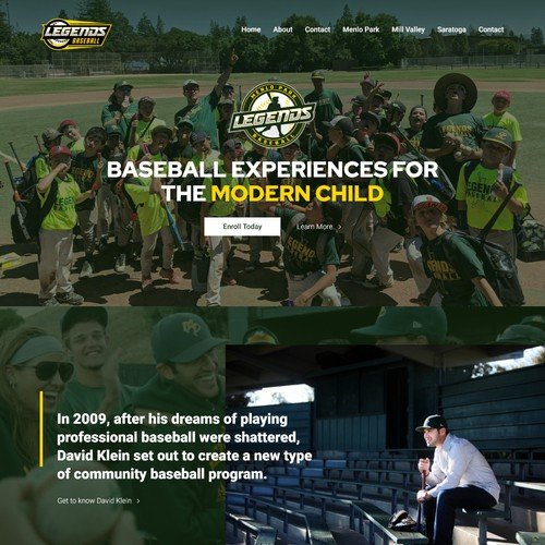 Baseball Coach Story-tell Website Design Concept