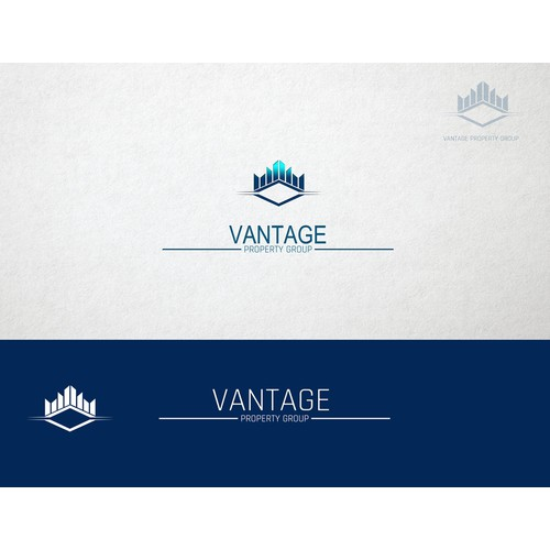 Create a captivating Vantage logo that will also be erected atop a highrise building