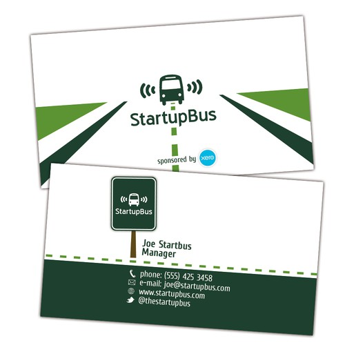 Business card for a startup hackathon on a bus.
