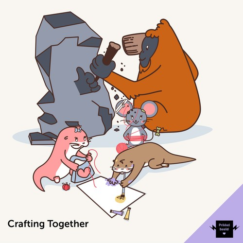 A fun mascot with friends to complete our Art-Holics family!
