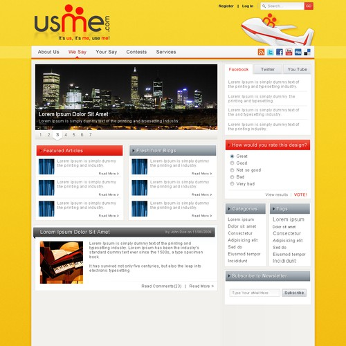 USME.com website for a travel focused community and blog site.