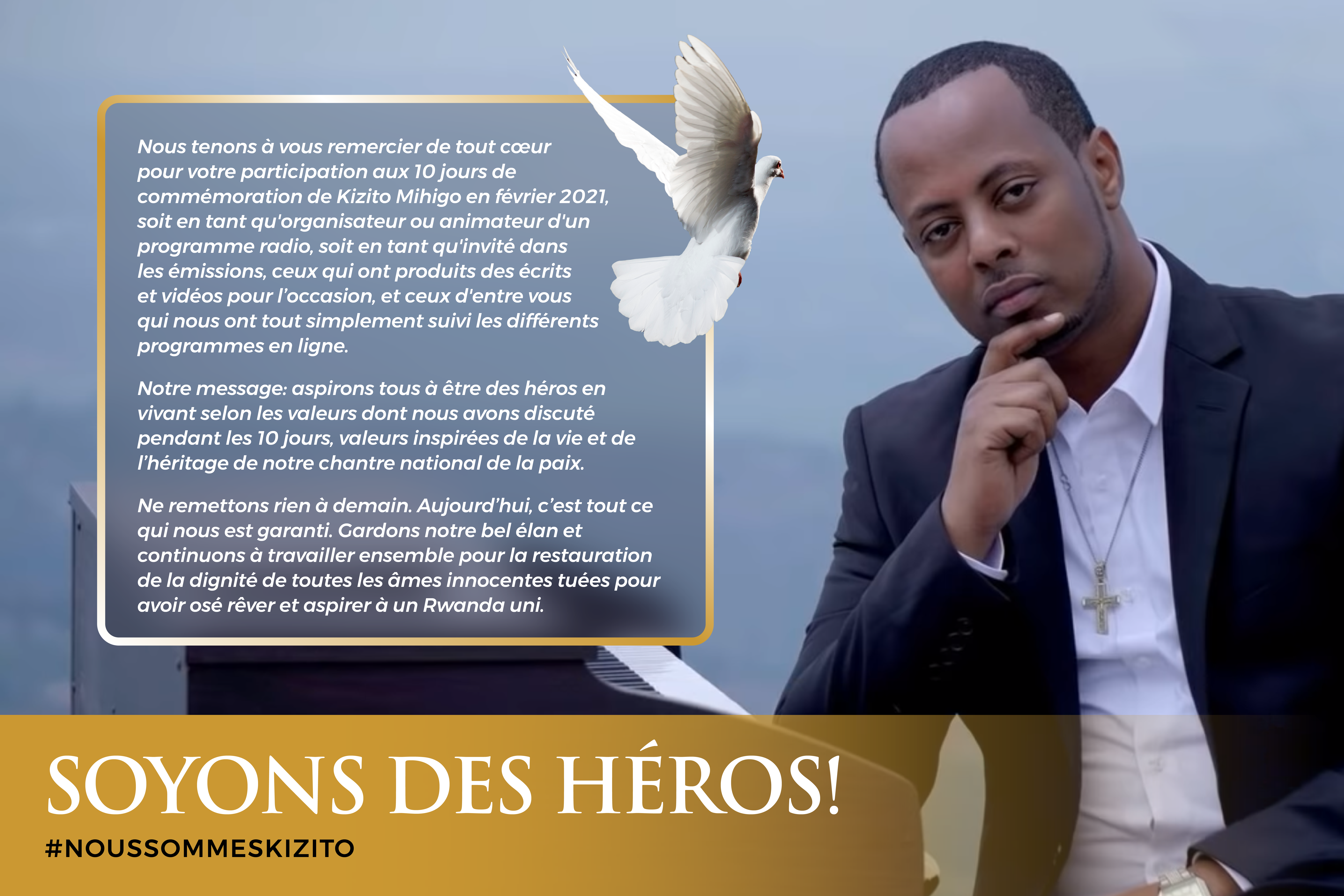 Thank you card 10 Days of Kizito Mihigo - Kinyarwanda Card