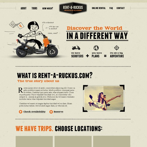 website design for Rentaruckus.com   (Scooter rental business)