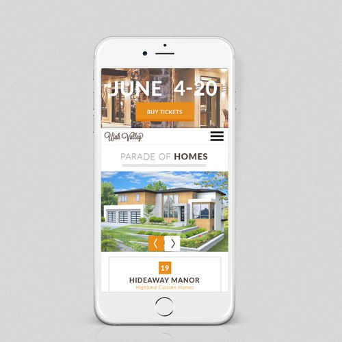 Mobile website for a parade of homes