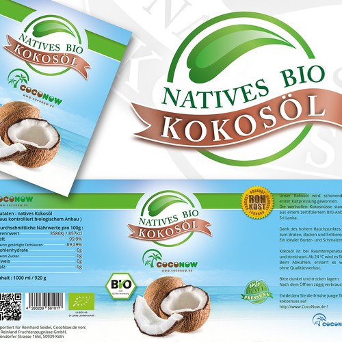 Logo and label for coconut oil