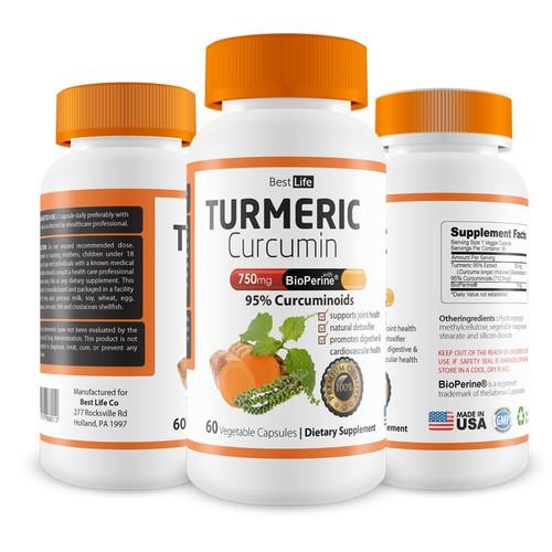 packaging label Turmeric Curcumin