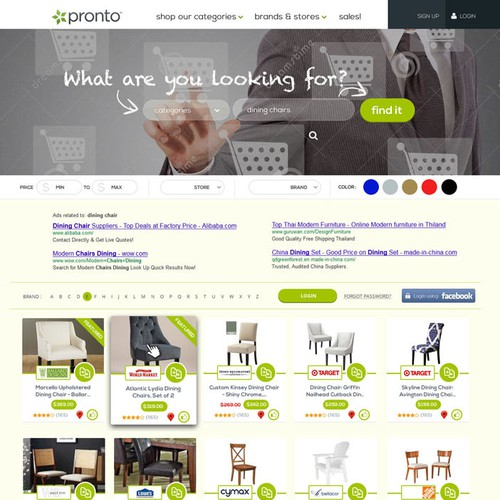 landing page website Pronto.com