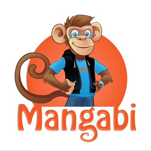 Young, geek, monkey logo and business card design
