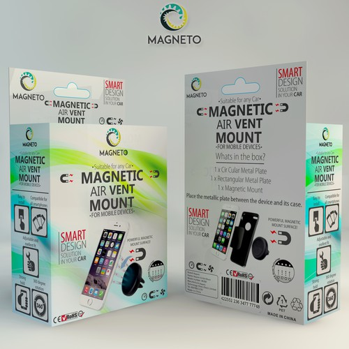 Box packaging for the Magnetic Air Vent Mount.