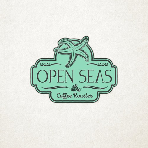 Vintage Sea Themed Design for Open Seas Coffe Roaster