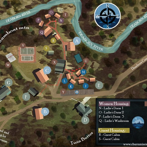 Campus map update for small college campus in Montana wilderness
