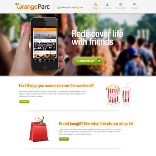 Simple but challenging Landing Page Design for OrangeParc